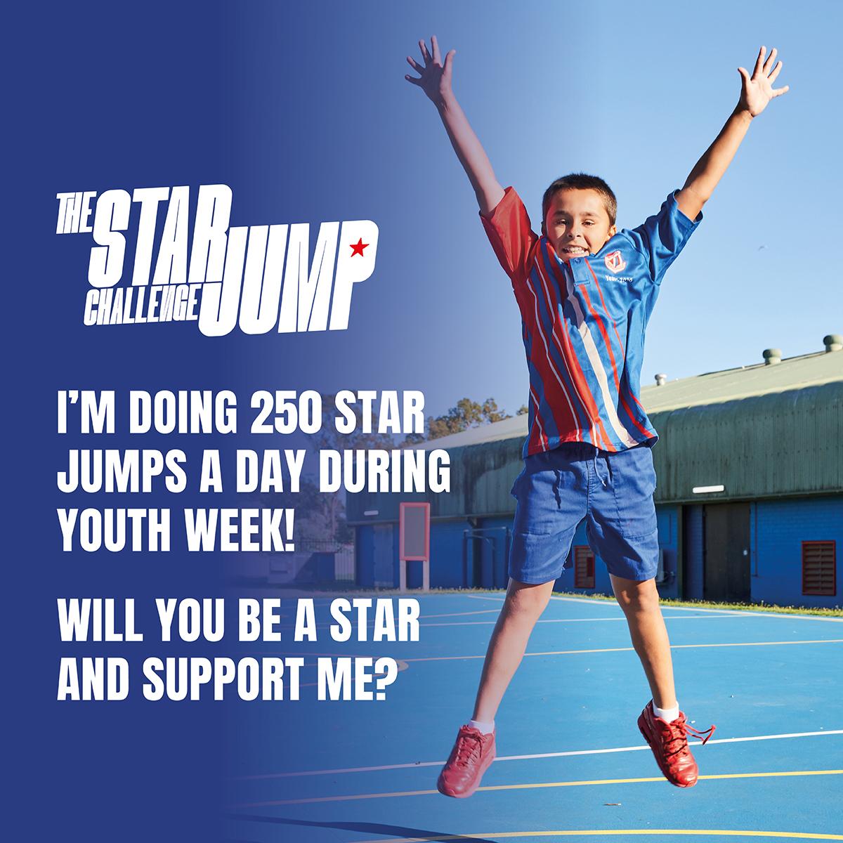 Social Tile 10 - Support - 250 Star Jumps